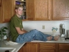 July 2002 - Michael relaxing in the kitchen