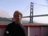 Julie enjoying the boat ride by the Golden Gate Bridge